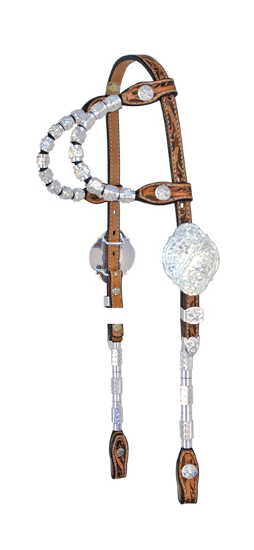DOUBLE ROUND EAR SHOW HEADSTALL, SILVER BUCKLES