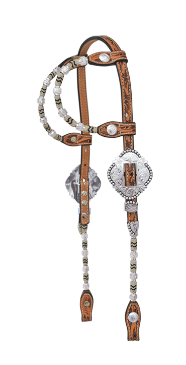 2072-FBI DOUBLE ROUND EAR SHOW HEADSTALL, BUCKLES