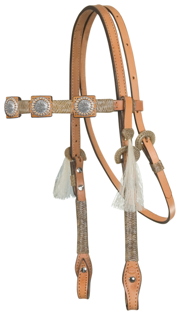 Square Cut Headstall, Natural Braiding, B4 Conchos