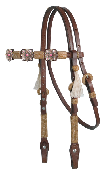 Square Cut Chocolate Headstall, Natural Braiding, B5 Conchos