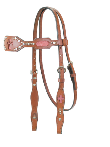 Pink Stingray Inlay Headstall, Cross Cut-Outs