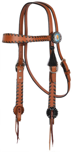 TOAST HEADSTALL, BLACK LACING, F1 CONCHOS