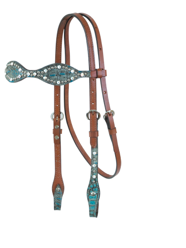 Scalloped Turquoise Gator Headstall