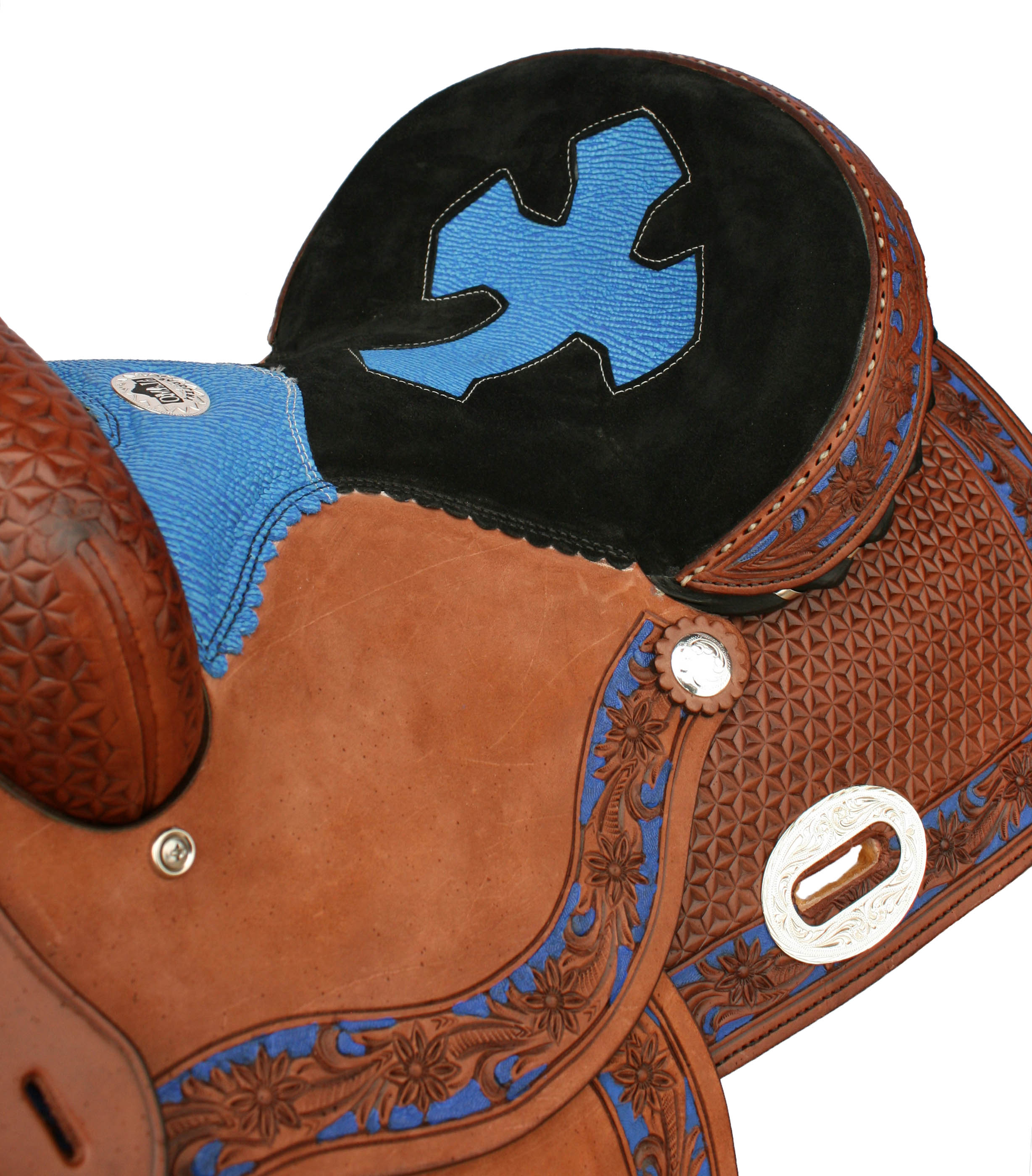 TOAST BARREL SADDLE, BLUE SHARK INLAID SEAT