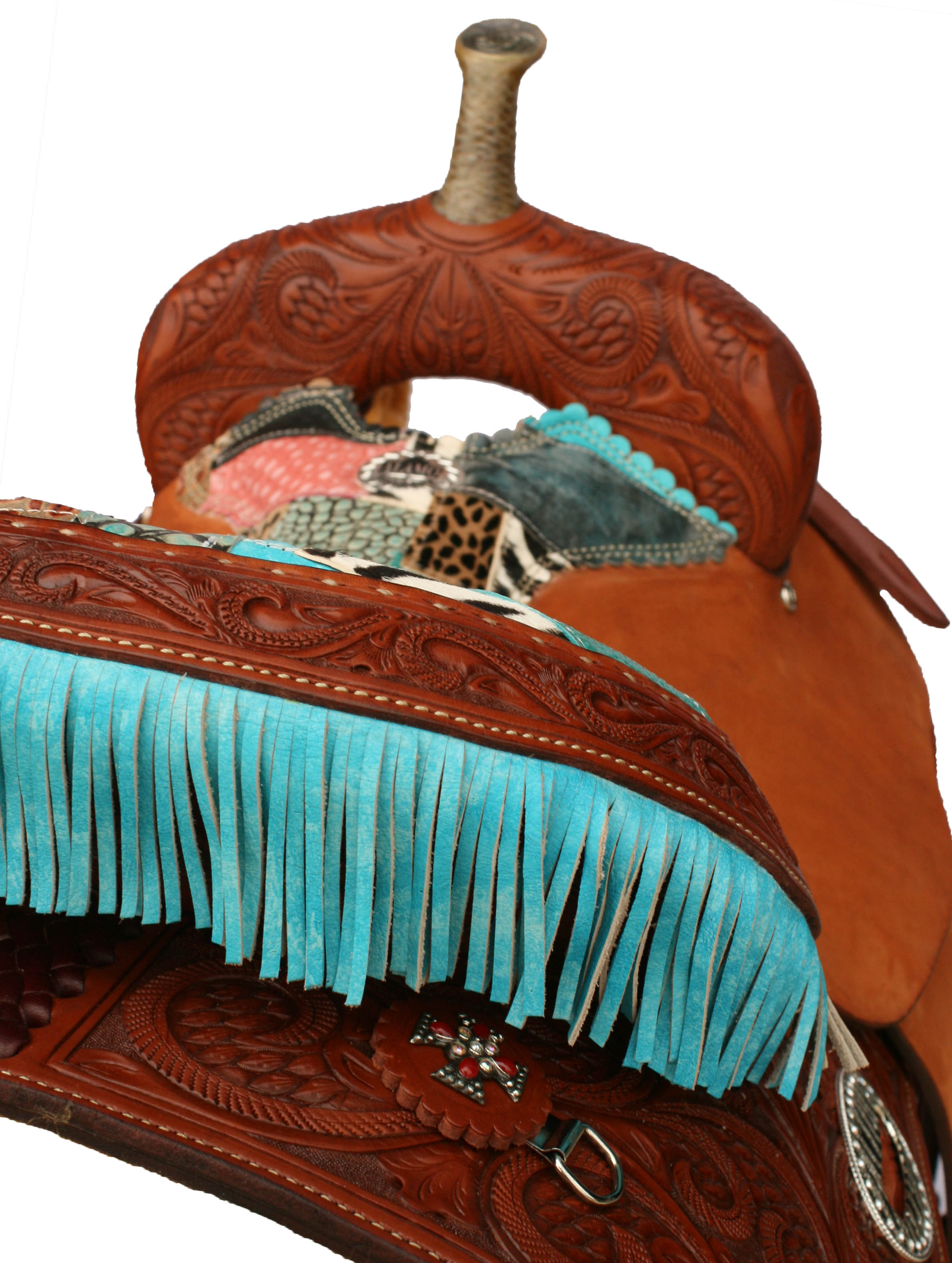 PAISLEY TOOLED BARREL SADDLE W/FRINGE
