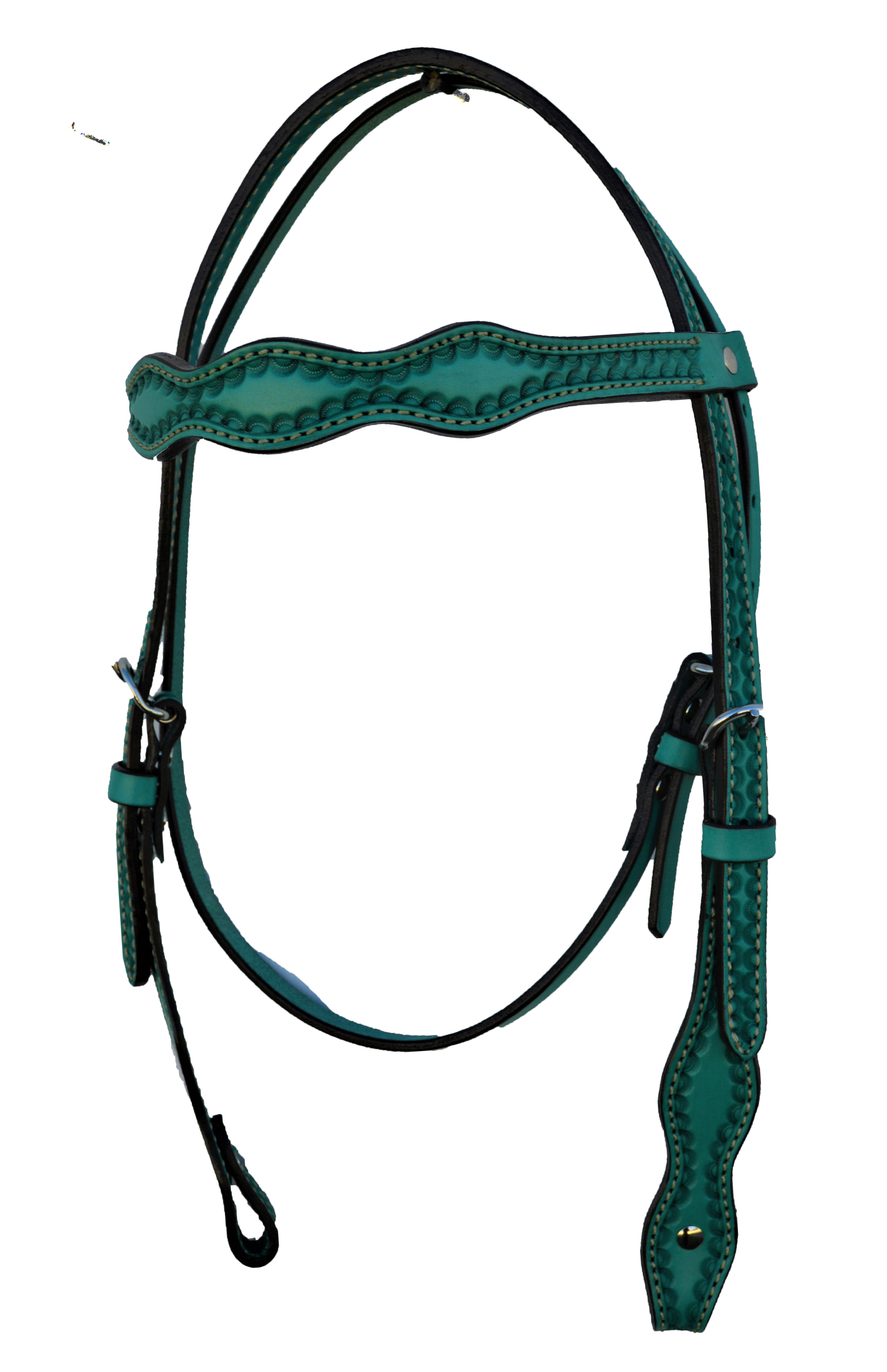 Scalloped Headstall with Turquoise Leather