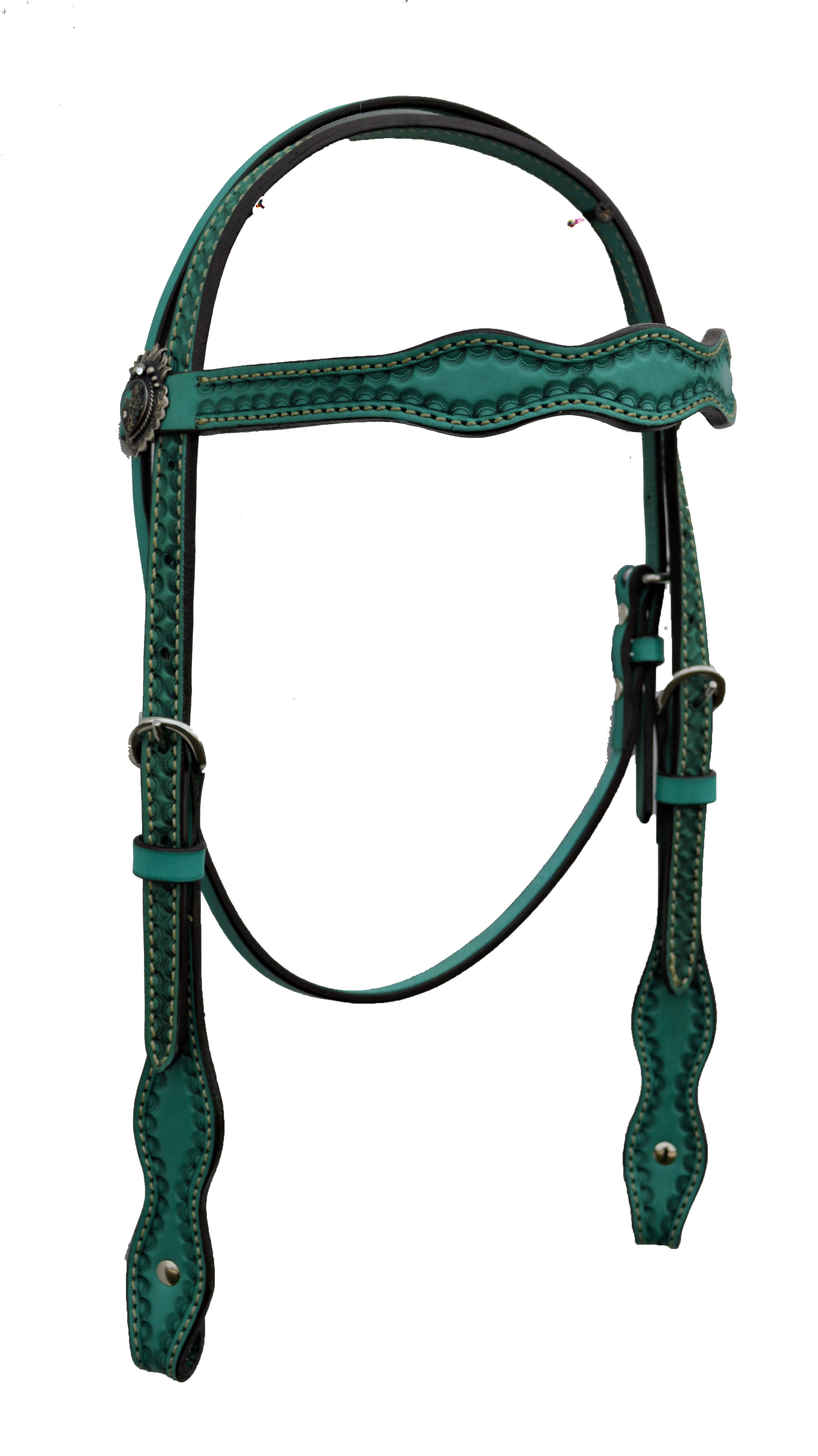 Scalloped Headstall with Turquoise Leather and D3 Conchos