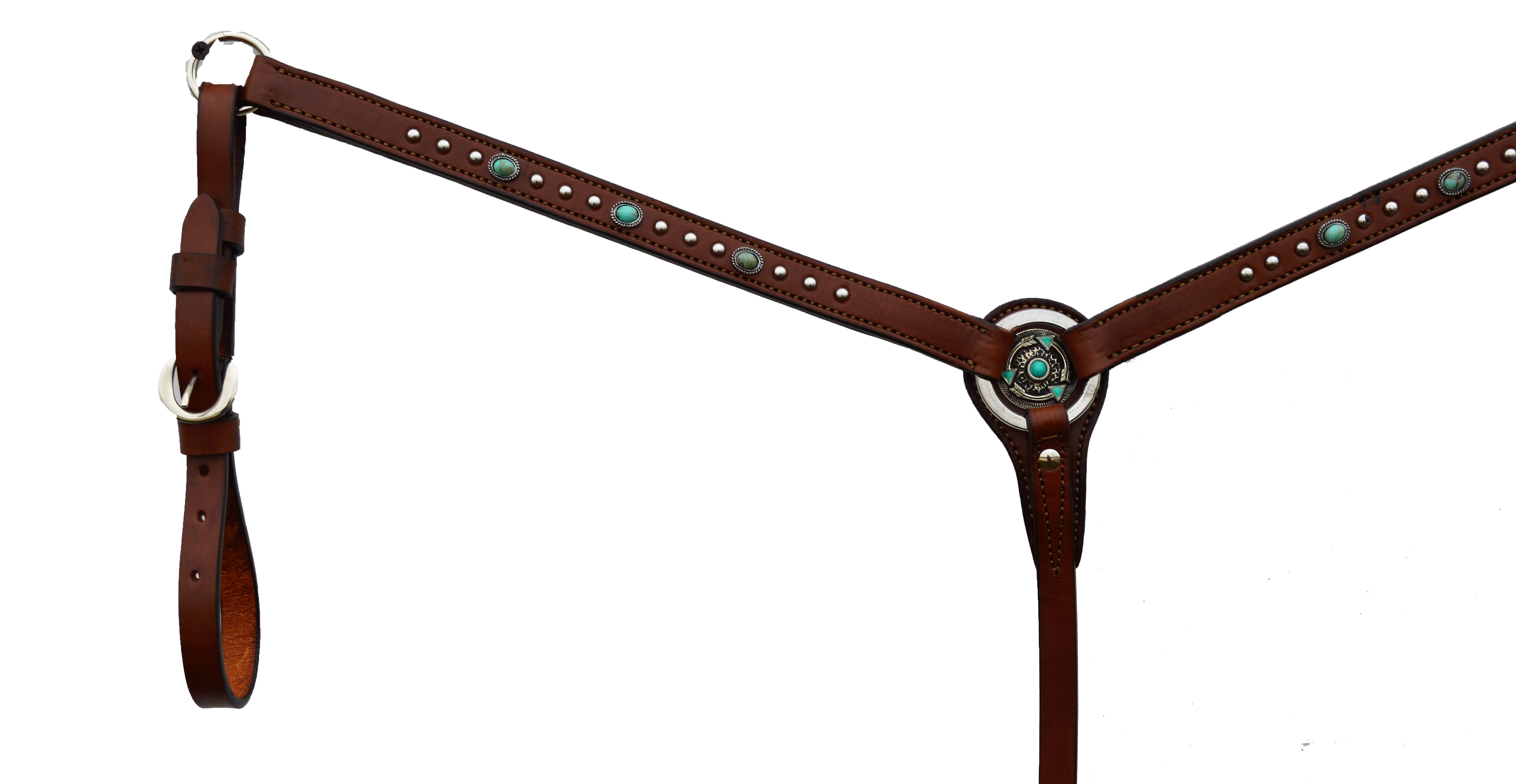 STRAIGHT BREASTCOLLAR WITH TURQUOISE SPOTTING AND J7 CONCHO