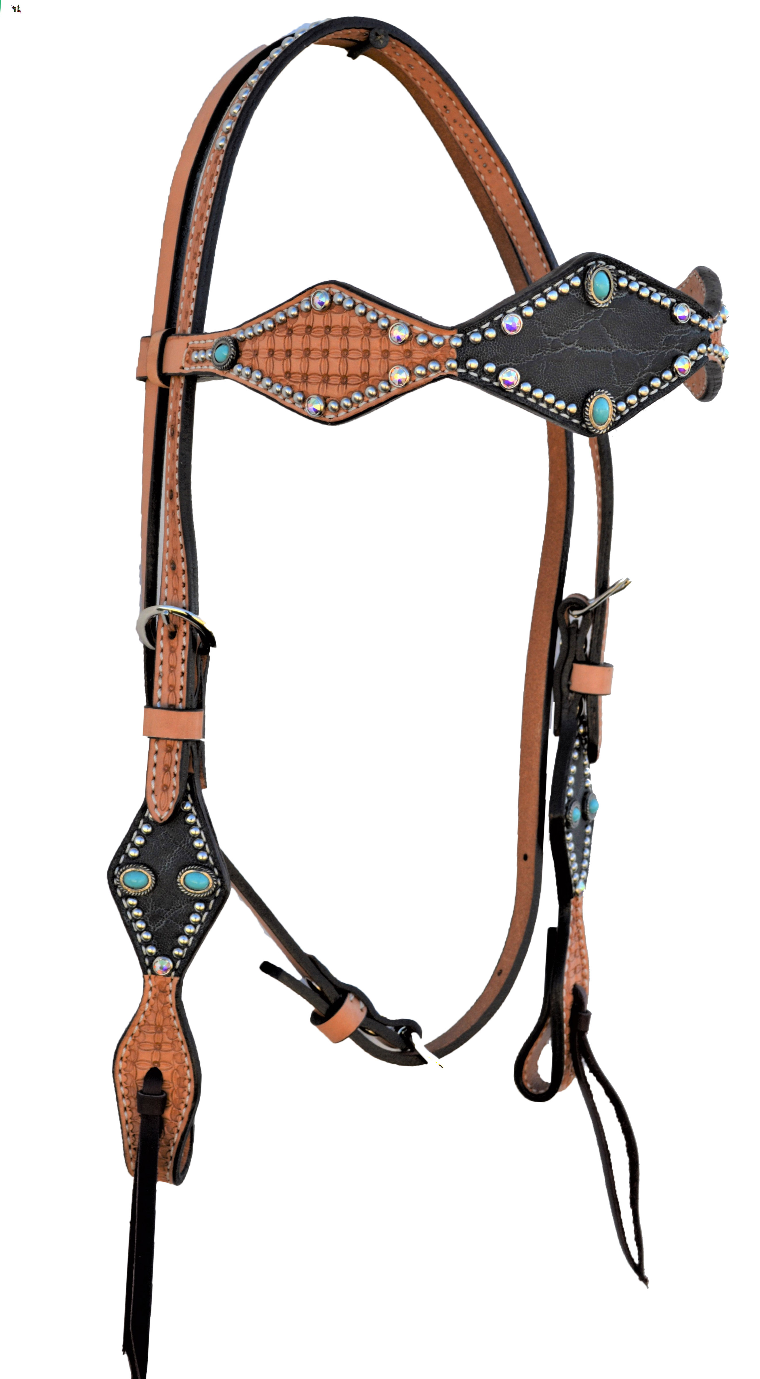 DIAMOND CUT HEADSTALL WITH GRAPHITE ELEPHANT OVERLAY AND TURQUOISE SPOTTING