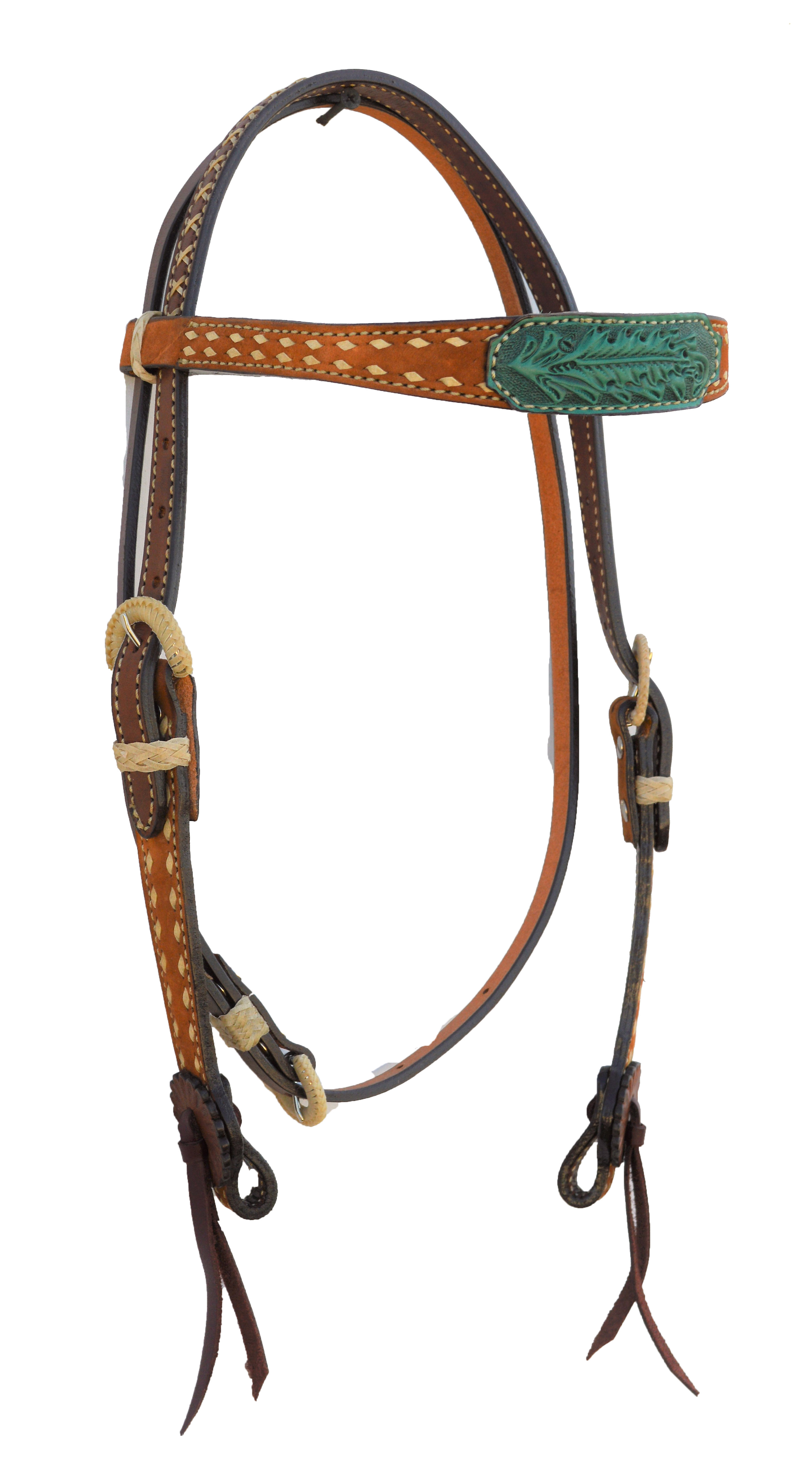 TOAST ROUGH OUT HEADSTALL WITH TURQUOISE LEATHER PATCH AND BUCKSTITCHING
