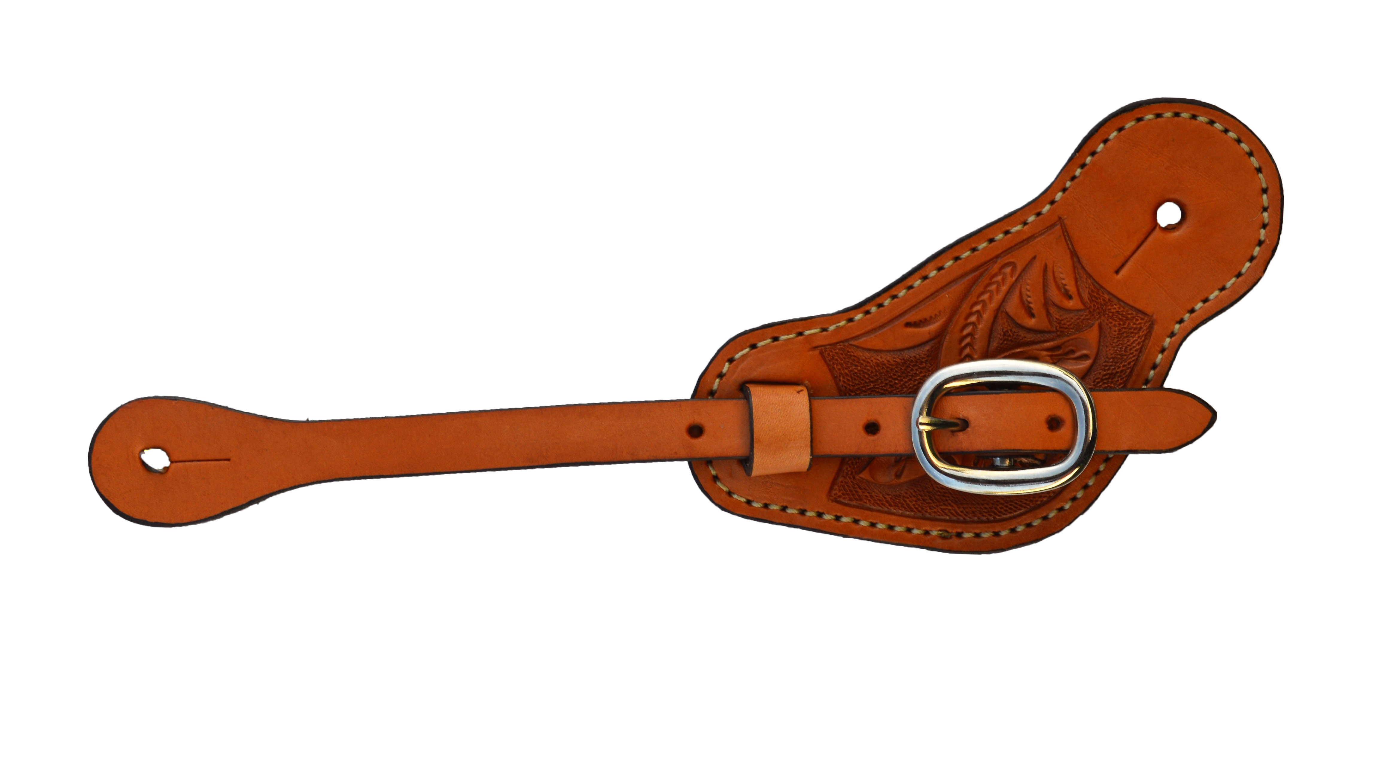 COWBOYS SPUR STRAPS GOLDEN LEATHER WITH FLORAL TOOLING