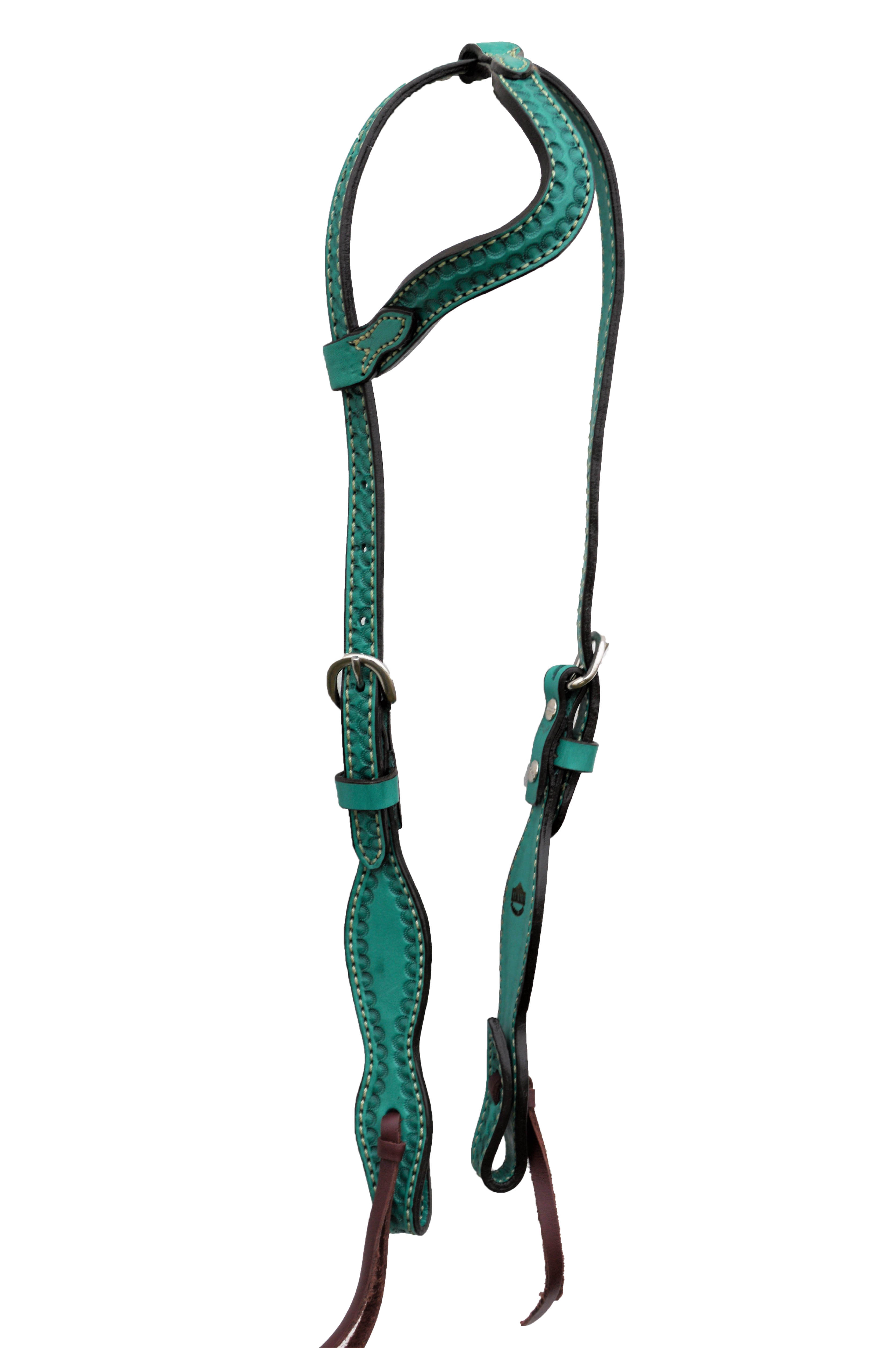 Wave Style One Ear Headstall with Shell Tooling