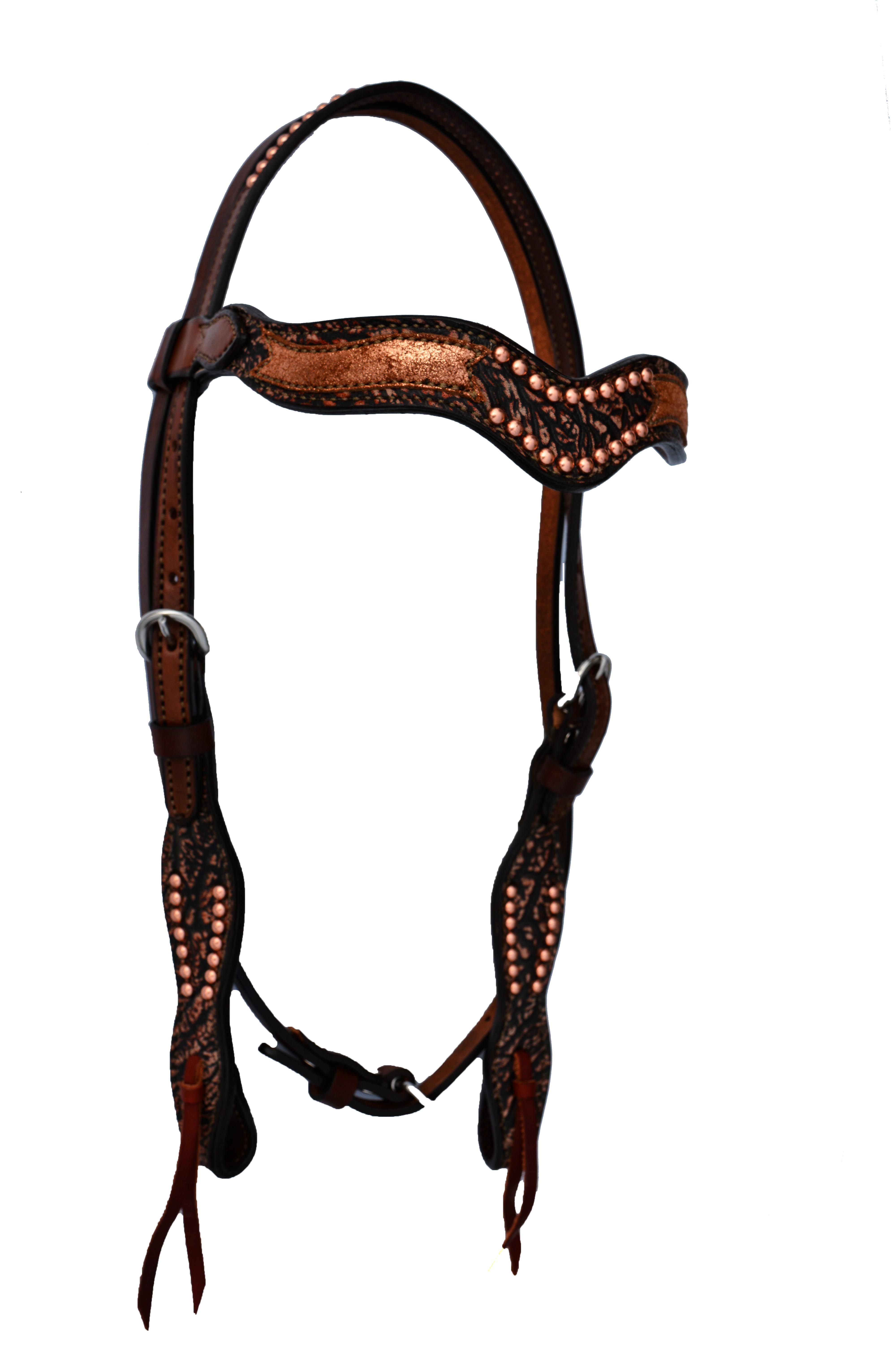 2117-CA Sleek Wave Headstall w/ Copper Crackle Overlay