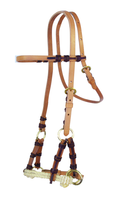 Harness Leather Side pull Double Rope