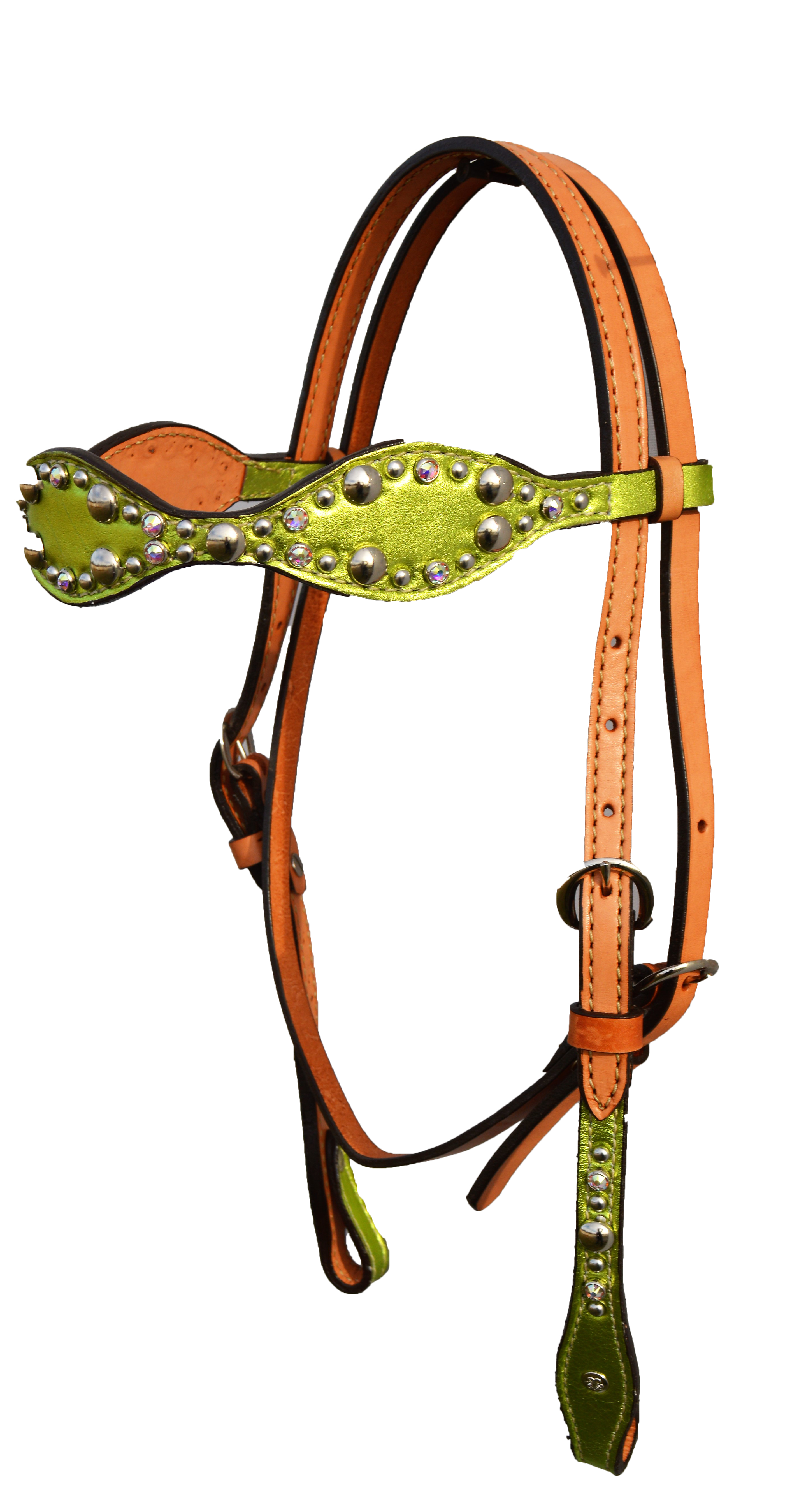 2065-JL Head Stall Scalloped Shaped, lime metallic overlay w/ spotting
