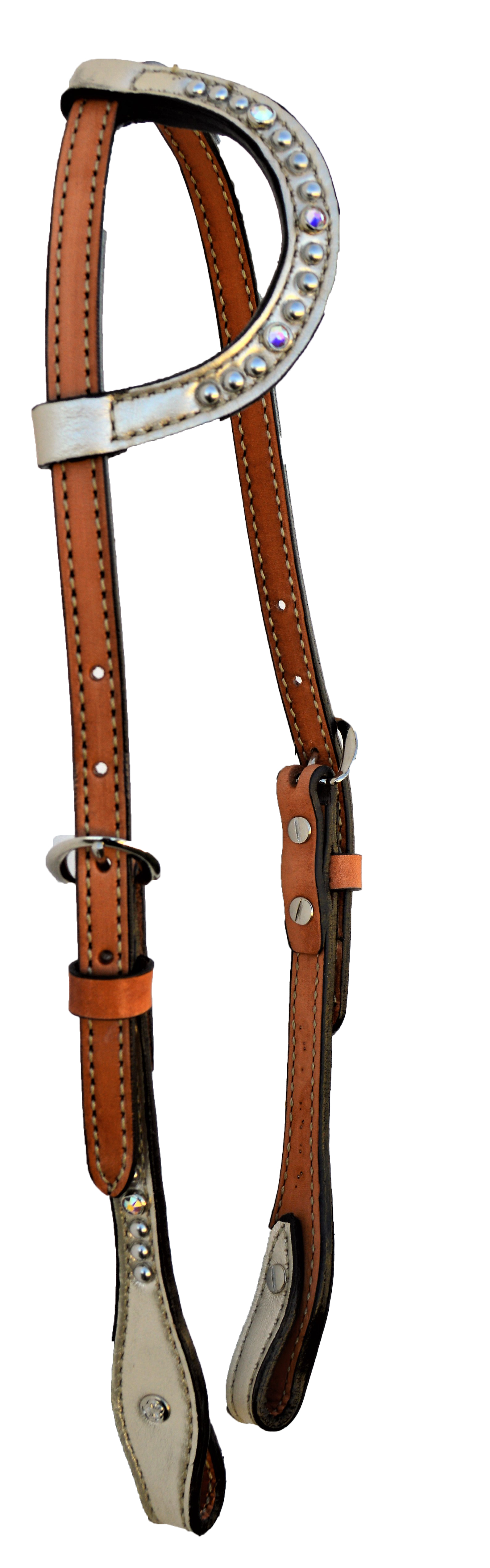 2070-JW One Ear Flat Style Head Stall; w/ Platinum overlay with spotting