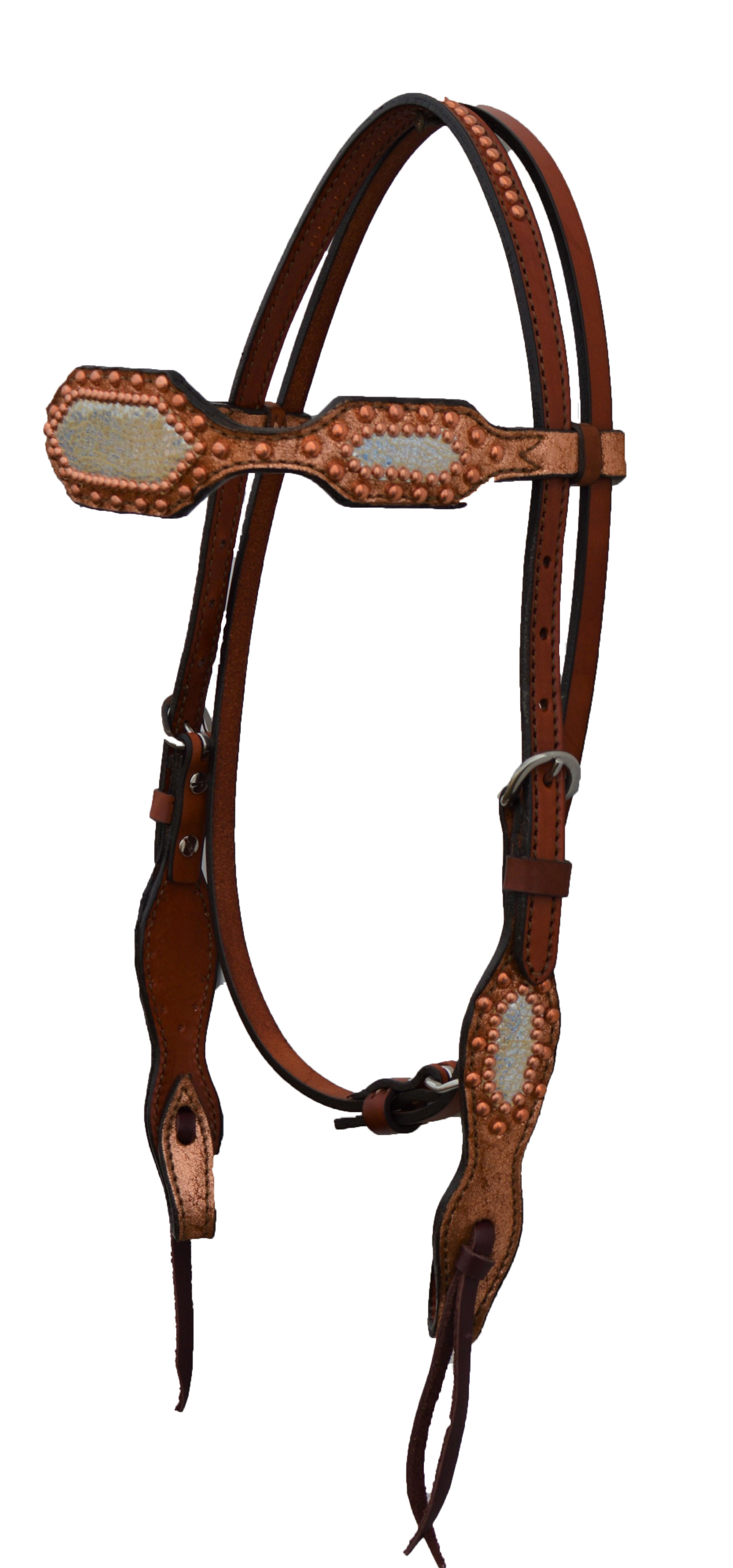 2285-IC HEADSTALL WITH TOAST IRIDESCENT BACKGROUND AND IVORY IRIDESCENT OVERLAY