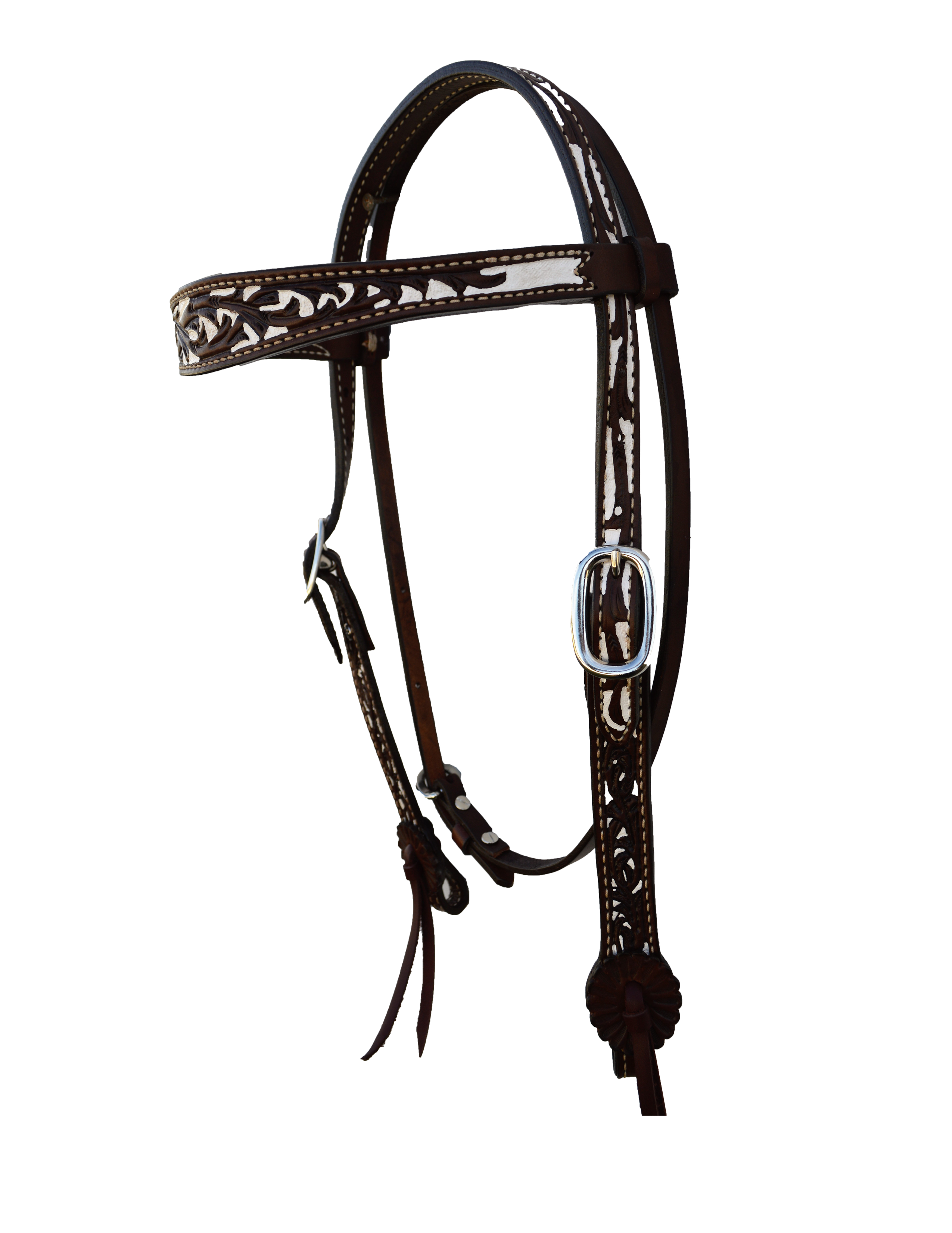2800-CW Headstall Contoured Shaped: Dark Chocolate leather w/ a Floral Tooling w/ a White Painted Background