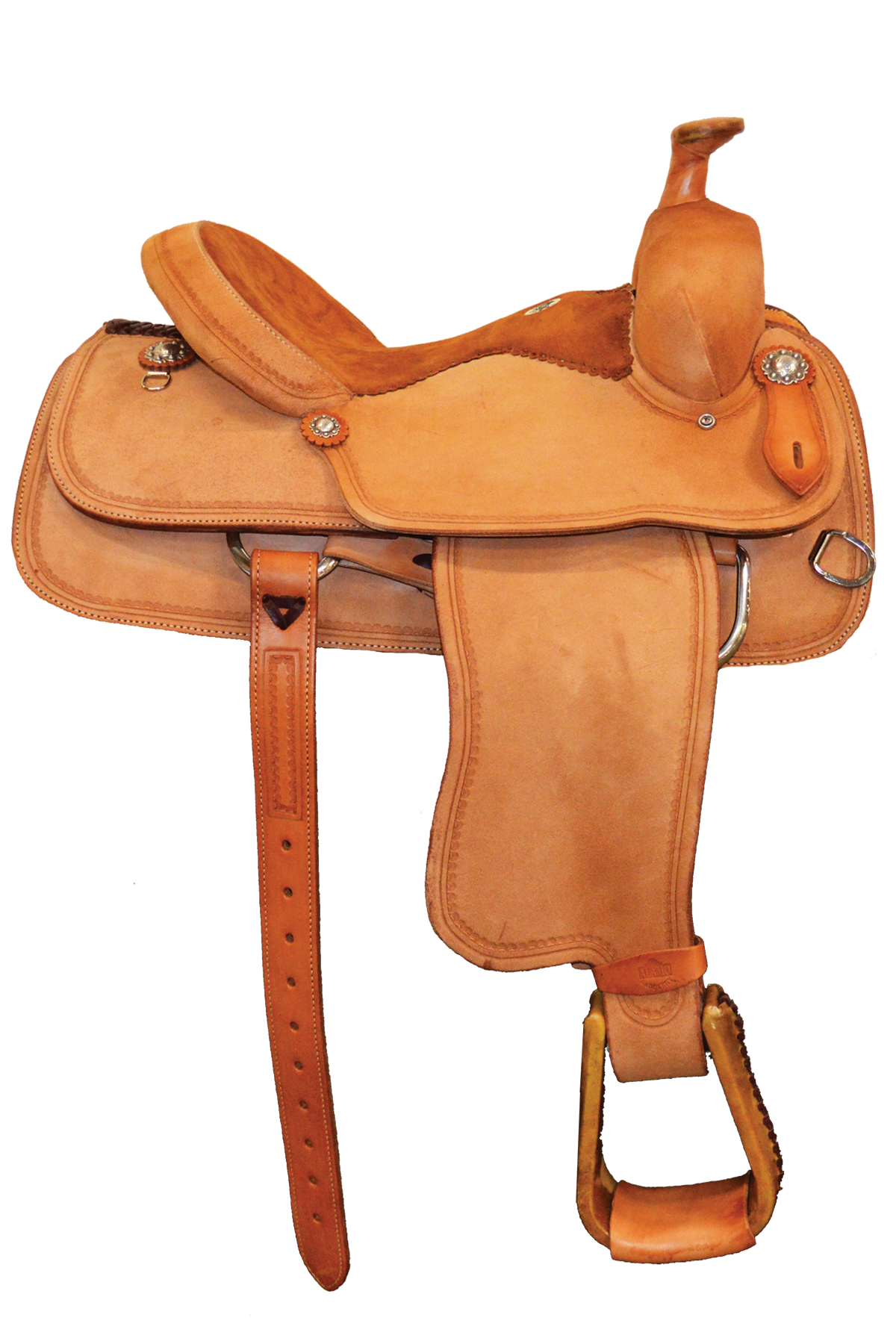 SD-16 Roper Saddle in light rough out with suede seat