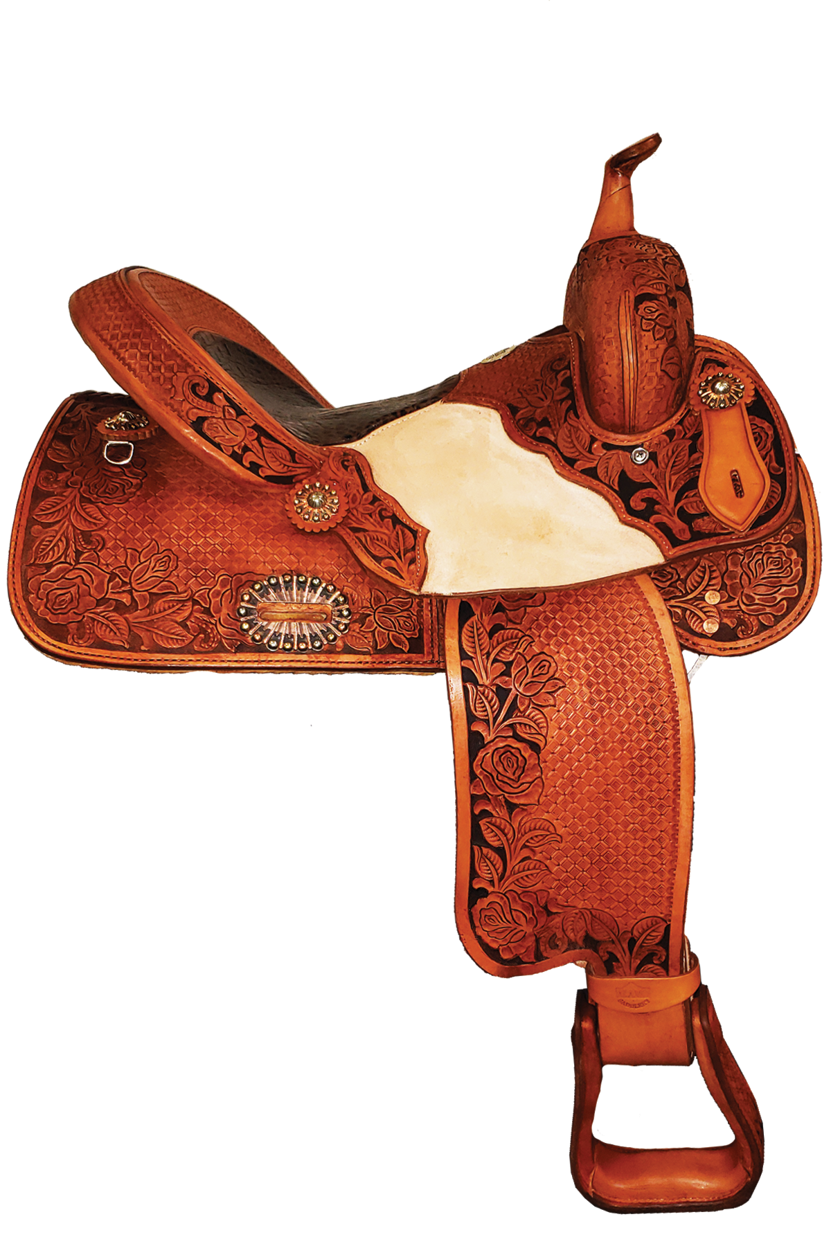 SD-6 Wild Rose Barrel Saddle with Jockey tooled Overlay