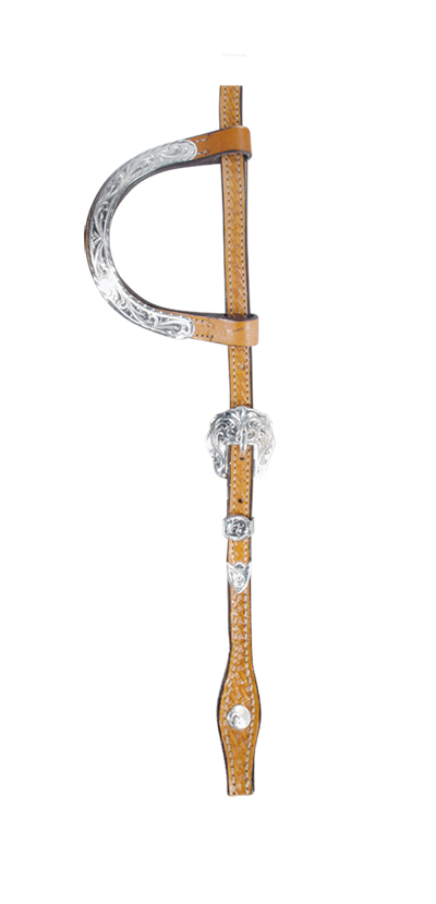 2072-KS DOUBLE FLAT EAR HEADSTALL, SILVER EARS AND BUCKLES WITH BASKET TOOLING