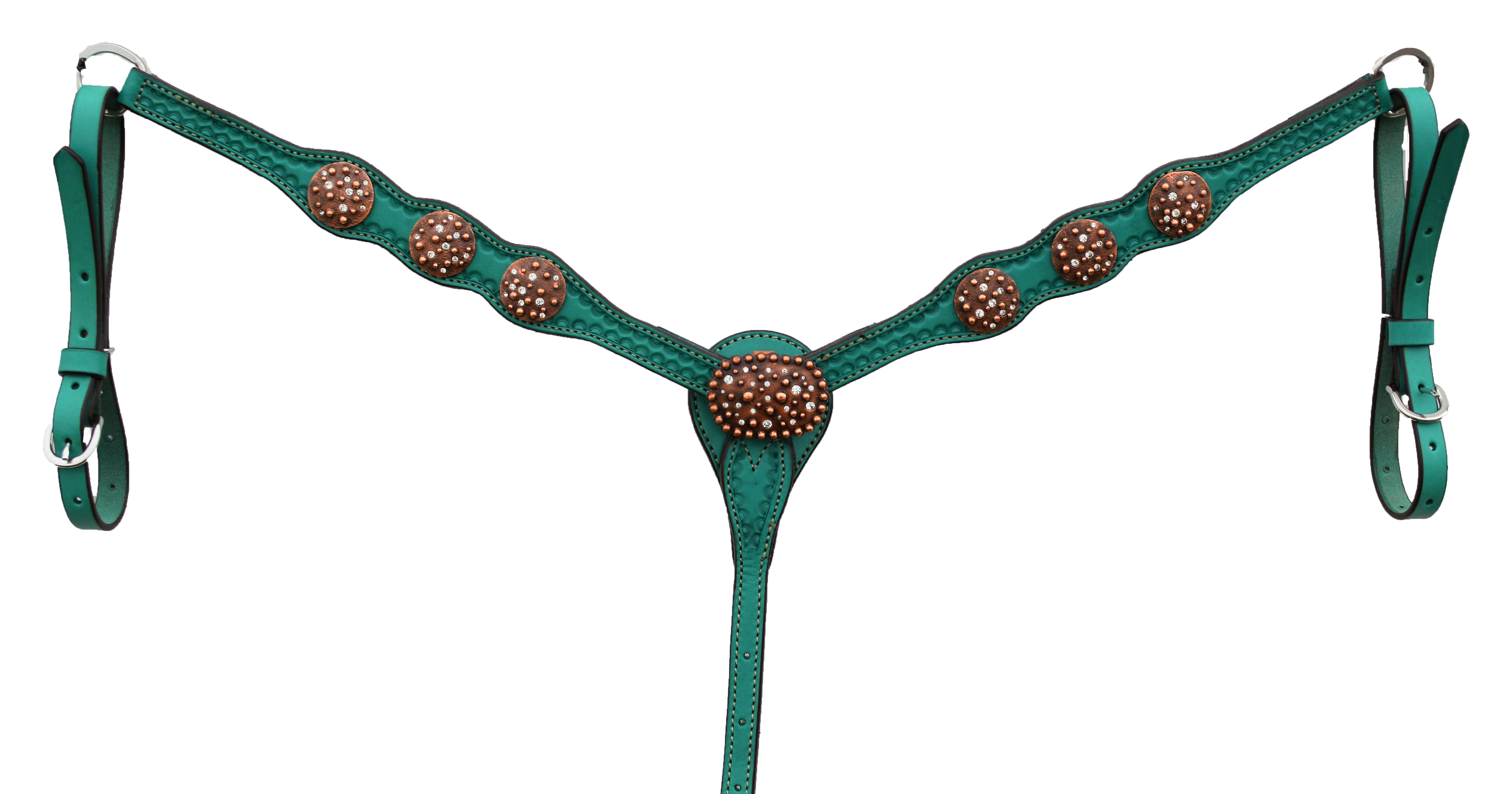 3037-QCI Scalloped, turquoise leather breastcollar with border shell tooling. 4 CI Conchos and Buckles