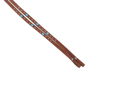702-TP4 CARAMEL TOAST SPLIT REINS WITH TURQUOISE SPOTS