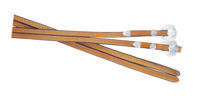 703-KS BASKET STAMPED SPLIT REINS WITH SILVER BUCKLES